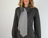 Mod Dress • Necktie Dress • 1960s Dress • Knee Length Dress • Ascot Dress • 60s Mod Dress • 60s Necktie Dress • Secretary Dress • Gray Dress