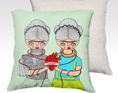Two Fridas one heart - pillow case - Frida Kahlo - home decor - velveteen - 22x 22 inches - 18 x 18 inches - heart - Diego
