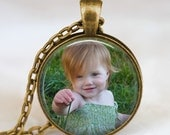 Custom Photo Pendant , Baby photo necklace, family photo jewelry, pet photo Jewelry , portrait photo necklace,mothers day gift
