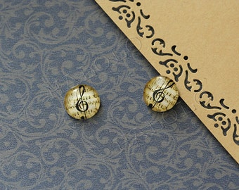 Sale - 10 pcs handmade music cabochons 12mm (12-0728)