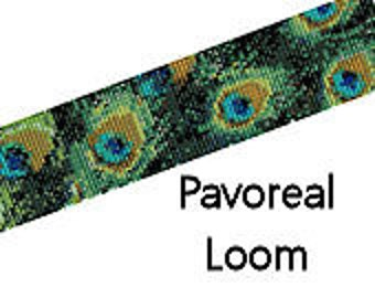 Bead Loom Bracelet Pattern Pavoreal Peacock Feathers Digital PDF