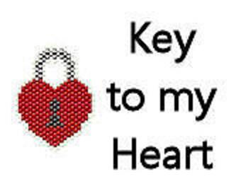 Brick Stitch Pattern Valentine's Day Heart Lock Key to my Heart Steampunk Style Digital PDF Pattern File