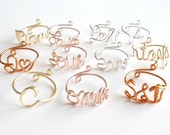 Ring . Wire Name Ring . Wire Initial Ring . Wire Word Ring . Personalized Ring . Wire Name Jewelry . Adjustable