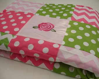 Shabby Roses Pink and Green Minky Patchwork Blanket 36 x 56 READY TO SHIP On Sale