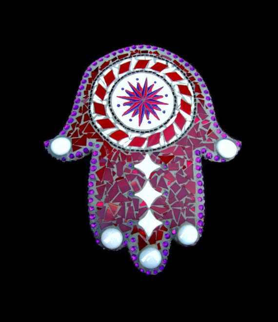 Stained Glass Mosaic Hamsa Hand of Miriam or Fatima Claret Red Purple White OOAK