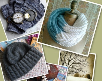 Infinity Cowl, Men's Hat, Knuckle Gloves, and Scarf eBook Knitting Patterns Instant PDF Download by designer J. L. Fleckenstein