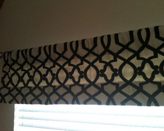 "Black and Ivory Trellis 50"" x 14"" lined Valance - ready to ship"