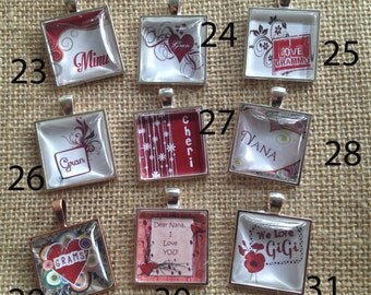 """Personalized GRANDMOTHER Pendants Choose a Design- Let me put your 'Nana, Mimi, Gamma, Mamow"""" on it!  FREE USA shipping too"""
