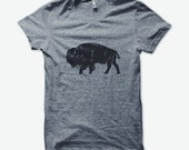 Bison unisex tri-blend grey t-shirt