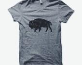 Bison unisex tri-blend grey t-shirt