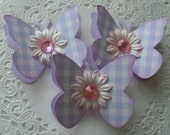 Spring/Easter Butterfly Embellishments- Purple Gingham