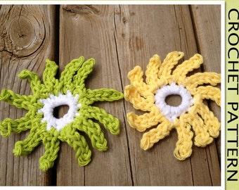 PDF Crochet Pattern - The Sunburst FLOWER Motif Applique