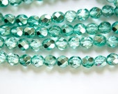 Czech Half Crystal Half Teal Green Blue Faceted Glass Beads 6mm (30) czh024A