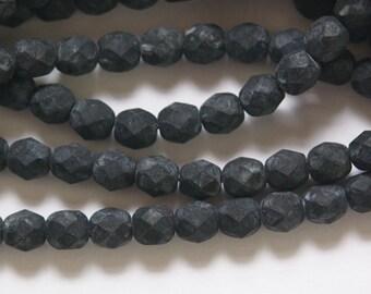 Czech Opaque Matte Black Faceted Glass Beads 6mm (30) czh016F
