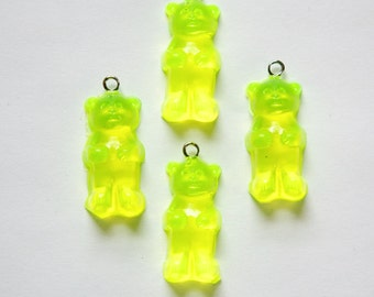 Neon Yellow Gummi Bear Charms Drops chr152D