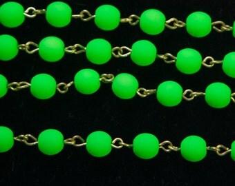 Neon Green Czech Glass Bead Chain Raw Brass Links 6mm chn163