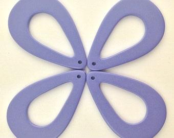 Vintage Lucite Purple Blue Tear Drop Hoop Pendants (4) hps054A