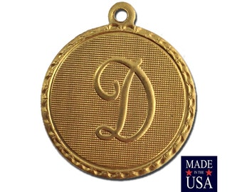 Raw Brass Letter D Initial Charm Drop with Loop (1) chr190D