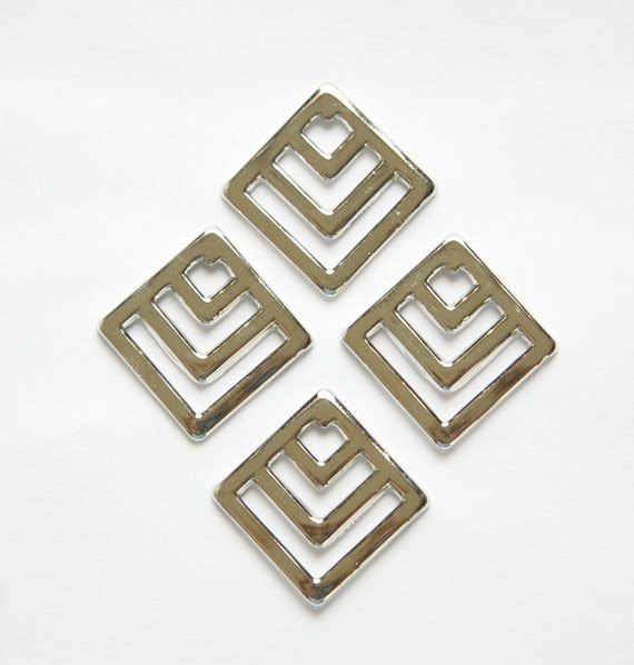 silver plated square chevron charm pendant 6 mtl404b