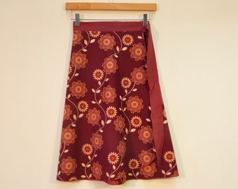 Side Tie Wrap Skirt, A Line Skirt, Knee Length Skirt, Cotton Skirt, One Size Fits All, Multi Size, size S/M, Modest