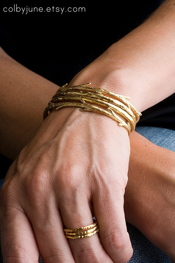 Plated Gold Twig Cuff | Gold Bracelet | Nature Inspired