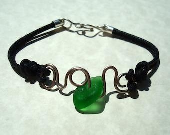 Sea Glass Bracelet -Green Seaglass with a Twist- Black Cotton Cord Bracelet