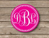 Personalized Monogrammed Stickers, script monogram, southern preppy stickers, glossy stickers, 3 Initial Monogram, set of 12 -southern charm