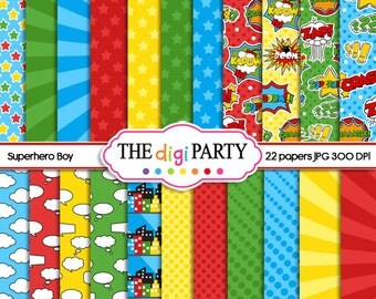 superhero digital paper printables super hero party boy printable papers commercial use instant download