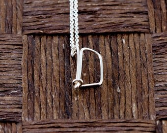 Sterling Silver Wire Wrapped Initial Pendant and Necklace - Letter D