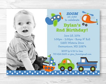 Transportation Vehicles Car Truck Sailboat Airplane Helicopter Birthday Invitation PRINTABLE Any Age