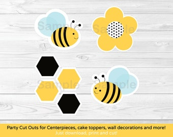 Bumble Bee Cut Outs / Bumble Bee Centerpiece / Cake Topper/ Wall Decor / Party Decor / Printable INSTANT DOWNLOAD