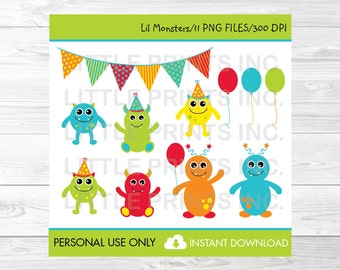 Cute Monster Birthday Clipart / Monster Clip Art / Baby Monsters / Monster Birthday Party / PERSONAL USE Instant Download A299