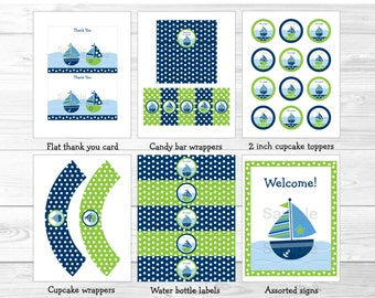 Sailboat Baby Shower Party Package INSTANT DOWNLOAD