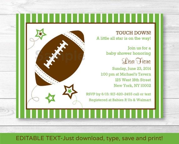 Cute Football Star Baby Shower Invitation Football Baby Shower