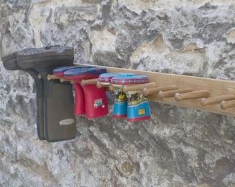 Oak Wall Welly Racks
