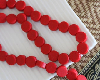 Small Resin Coin Beads - Red - 10mm x 15