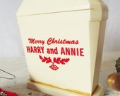 Vintage Celluloid Salt and Pepper Shakers - Combination- Merry Christmas Harry and Annie - Christmas in July - CIJ