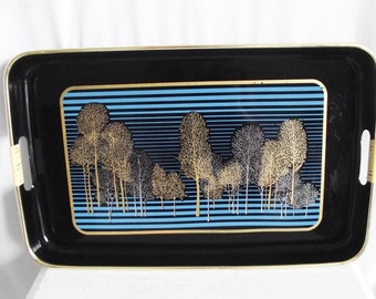 Vintage Lacquer Tray - Trees - Teal and Gold - Large