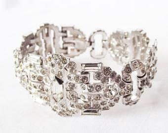Vintage Rhinestone Bracelet - Art Deco - Wide Wedding Jewelry - Beautiful