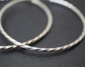 CLEARANCE - Endless Simple Spiral Silver Plated Round Hoop Earrings - 60mm