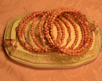 Vintage Pink Ceramic Beads,Bugle and Crystals Memory Wire Wrap Bracelet