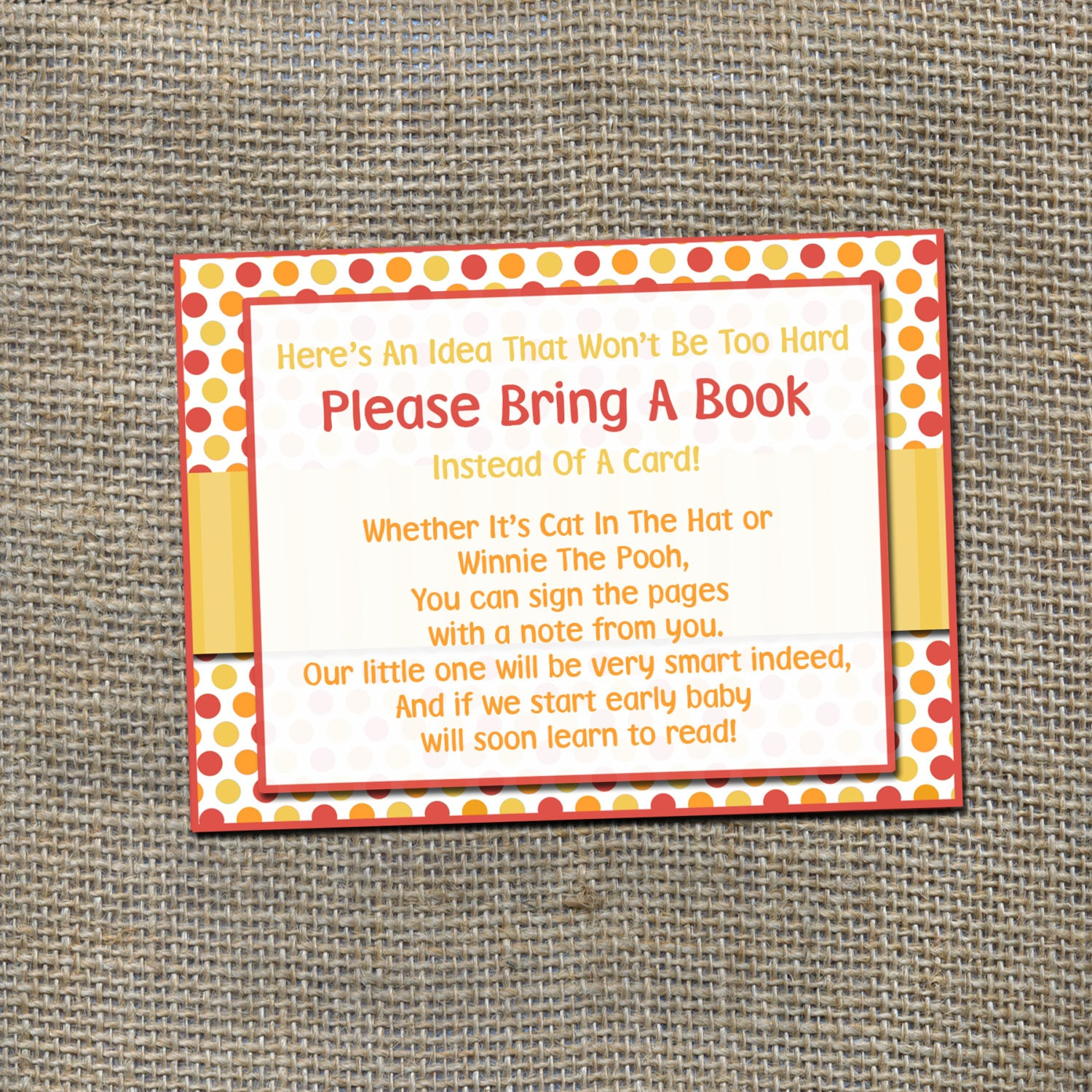 Please Bring A Book Instead of a Card Insert Card for Baby