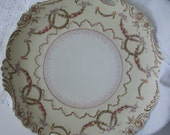 Antique Ohme Silesia Old Ivory Handled Plate, Wedding Decor, Antique China