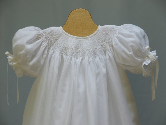 Hand Smocked Christening Gown Swiss Eyelet New born  3 month 6 month