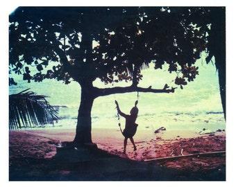 "Photography Polaroid Girl on Swing Sunset Puerto Rico Rincon Maria's Beach 11""x14"" Print"