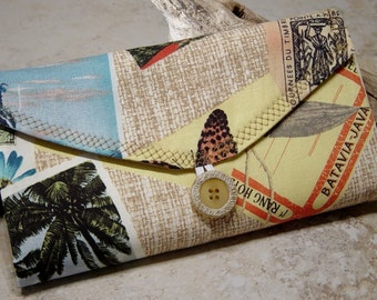 Travel Jewelry Organizer, Travel Jewelry Wallet, Clear Pocket Travel Organizer,Historic Postcard Travel Fabric, Gift for Traveler