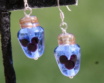 Light Blue Translucent Christmas Lights Mickey Style Disney Inspired Lampwork Bead DeSIGNeR Earrings Holiday Christmas