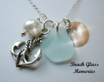 Aqua Sea Glass Personalized Necklace Anchor Beach Glass Monogrammed Jewelry Seaglass Necklace