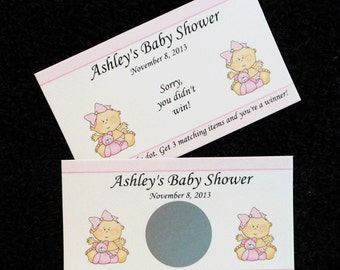 Personalized Scratch Off Cards Baby Shower, baby girl with pink teddy bear, set of 25