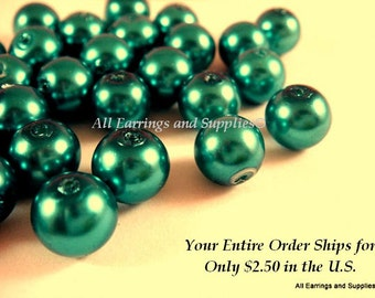 50 Teal Glass Pearls 8mm Beads - 14 inch - 5122